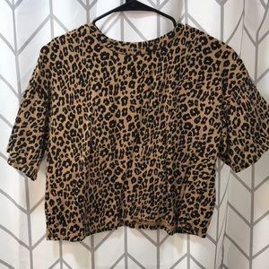 Leopard print midi T shirt